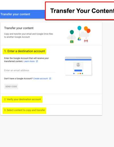 Transfer Your Content - Google Account