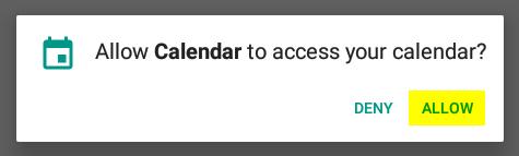 "Click ""Allow"" to let Calendar have access to your calendar."