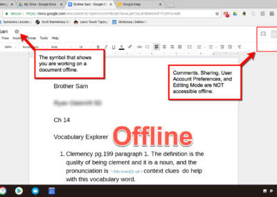 This photo shows features of Google Docs that are not available while offline.