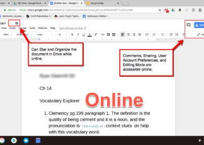In comparison, this photo shows features of Google Docs that are available online.