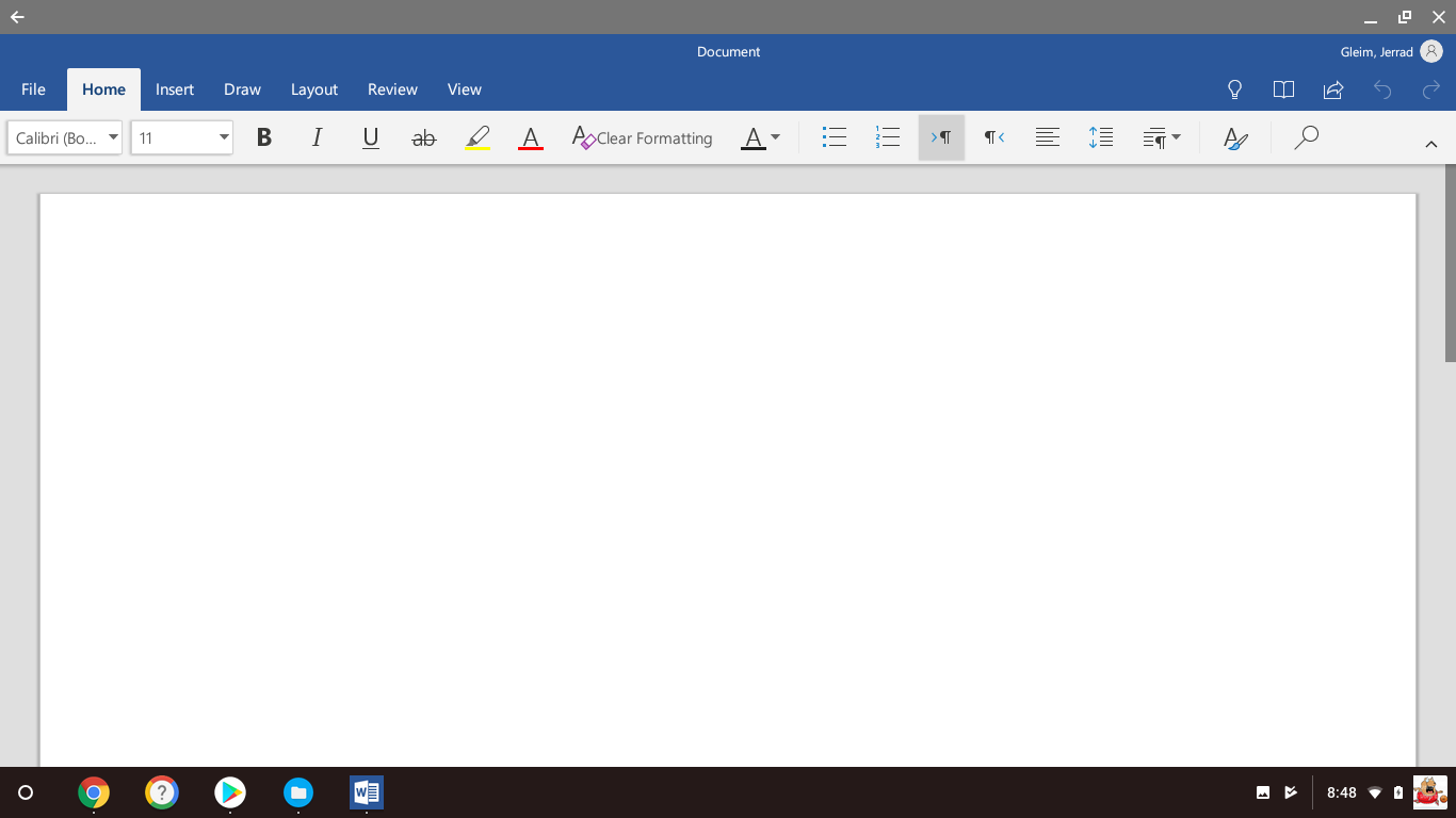 Microsoft Word Android App Editing Screen
