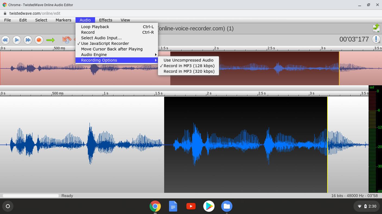 TwistedWave - Audio Recording Options