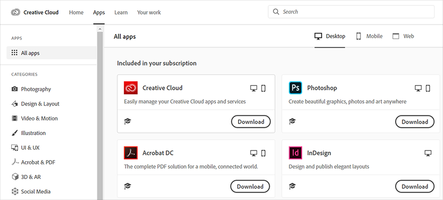 Download Creative Cloud apps