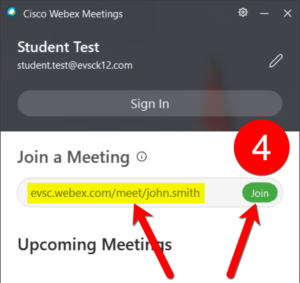 Type in the teacher's personal meeting URL and press JOIN when ready.