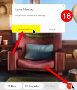 Click the red X in the toolbar and then click Leave Meeting.